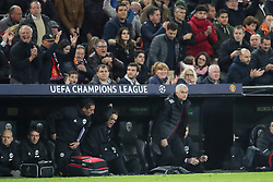 Manchester United manager Jose Mourinho leaves the dugout at the final whistle