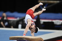 March 2, 2019 - Greensboro, North Carolina, US - JAMES HALL from Great Britain competes on the vault at the Greensboro Coliseum in Greensboro, North Carolina. (Credit Image: © Amy Sanderson/ZUMA Wire)
