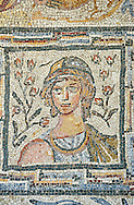 Roman mosaic floor panes depicting the  seasons. From Capannelle area of the Via Appia Nova, Rome. 4th to 5th century AD. National Roman Museum, Rome, Italy .<br /> <br /> If you prefer to buy from our ALAMY PHOTO LIBRARY  Collection visit : https://www.alamy.com/portfolio/paul-williams-funkystock/national-roman-museum-rome-mosaic.html <br /> <br /> Visit our ROMAN ART & HISTORIC SITES PHOTO COLLECTIONS for more photos to download or buy as wall art prints https://funkystock.photoshelter.com/gallery-collection/The-Romans-Art-Artefacts-Antiquities-Historic-Sites-Pictures-Images/C0000r2uLJJo9_s0