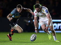 Exeter Alex Cuthbert in action during the Gallagher Premiership at Twickenham Stoop, London.