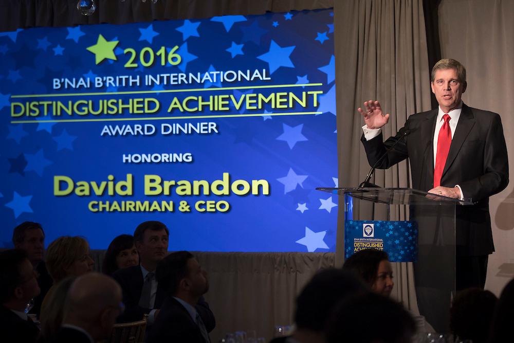B'nai B'rith International Distinguished Achievement Award Dinner with David Brandon on November 7, 2016 in New York City. (Photos by Ben Hider)
