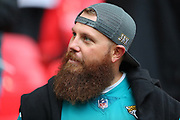 A  bearded Jaguar fan during the NFL game between Houston Texans and Jacksonville Jaguars at Wembley Stadium in London, United Kingdom. 03 November 2019
