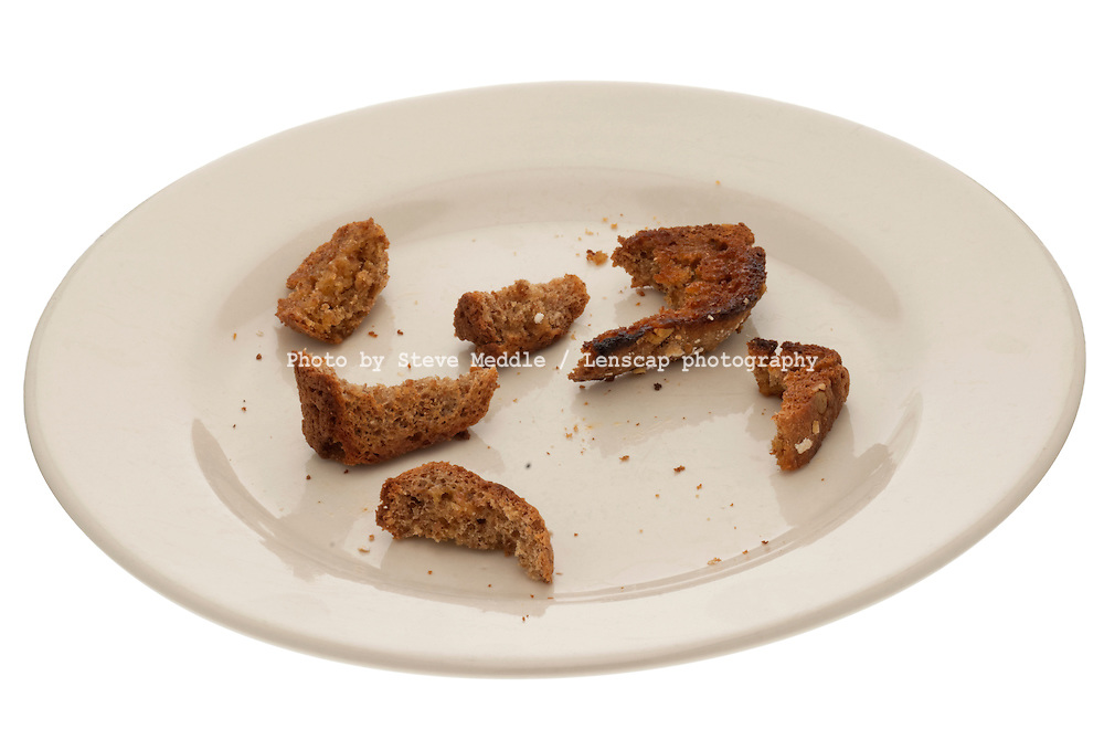 Leftovers of Toast on a Plate