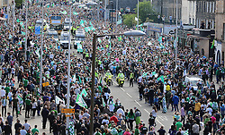 Hibernian Scottish Cup Open Top Bus Edinburgh 14 May 2016; The Hins bus makes its way down Leith Walk during the open top bus parade in Edinburgh after winning the Scottish Cup.<br /> <br /> (c) Chris McCluskie | Edinburgh Elite media