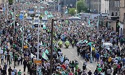 Hibernian Scottish Cup Open Top Bus Edinburgh 14 May 2016; The Hins bus makes its way down Leith Walk during the open top bus parade in Edinburgh after winning the Scottish Cup.<br /> <br /> (c) Chris McCluskie | Edinburgh Elite media