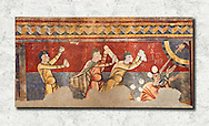 The Stoning of St. Stephen<br /> <br /> Circa 1100s<br /> <br /> Fresco Transfer to canvas<br /> <br /> From the Church of Saint Joan Boi, Val de Boi, High Ribagorca, Pyranese, Spain.<br /> <br /> Acquired in 1919-1923 by the National Art Museum of Catalonia, Barcelona.<br /> MNAC 15953<br /> <br /> The 12th century fresco of the Stoning of St. Stephen is one of the best scenes in the mural decoration Boi. The interest in narrative and dynamism are characteristic of a pictorial style of the Poitiers region of France, which is also linked with the rich Limousin painting of the late eleventh century. From the iconographic point of view, the scene is an early example of the interest of Romanesque art to the lives of saints. St Joan de Boi is a UNESCO World Hertiage Site. .<br /> <br /> If you prefer you can also buy from our ALAMY PHOTO LIBRARY  Collection visit : https://www.alamy.com/portfolio/paul-williams-funkystock/romanesque-art-antiquities.html<br /> Type -     MNAC     - into the LOWER SEARCH WITHIN GALLERY box. Refine search by adding background colour, place, subject etc<br /> <br /> Visit our ROMANESQUE SCULPTURE PHOTO COLLECTION for more   photos  to download or buy as prints https://funkystock.photoshelter.com/gallery/Romanesque-Statue-Sculptures-Pictures-Images/G0000ezFHYeF_xRI/C0000YpKXiAHnG2k .<br /> <br /> If you prefer you can also buy from our ALAMY PHOTO LIBRARY  Collection visit : https://www.alamy.com/portfolio/paul-williams-funkystock/romanesque-art-antiquities.html<br /> Type -     MNAC     - into the LOWER SEARCH WITHIN GALLERY box. Refine search by adding background colour, place, subject etc<br /> <br /> Visit our ROMANESQUE ART PHOTO COLLECTION for more   photos  to download or buy as prints https://funkystock.photoshelter.com/gallery-collection/Medieval-Romanesque-Art-Antiquities-Historic-Sites-Pictures-Images-of/C0000uYGQT94tY_Y