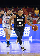 NANJING,CHINA:SEPTEMBER 5th 2019.FIBA World Cup Basketball 2019 Group phase match.Group F. New Zealand vs Greece.Point Guard Tai WEBSTER(R) keeps clear of Small Forward Kostas PAPANIKOLAOU of Greece<br /> Photo by Jayne Russell / www.PhotoSport.nz
