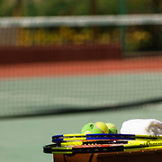 Playing Tennis.Cancun, Quintana Roo..Mexico.