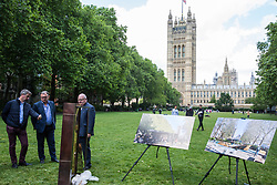 London, UK. 6 June, 2019. Lord Pickles and Ed Balls, co-chairs of the UK Holocaust Memorial Fund, select bronze and limestone for the UK Holocaust Memorial and Learning Centre in Victoria Tower Gardens beside Parliament. The Prime Minister recently led cross-party support for the new memorial.