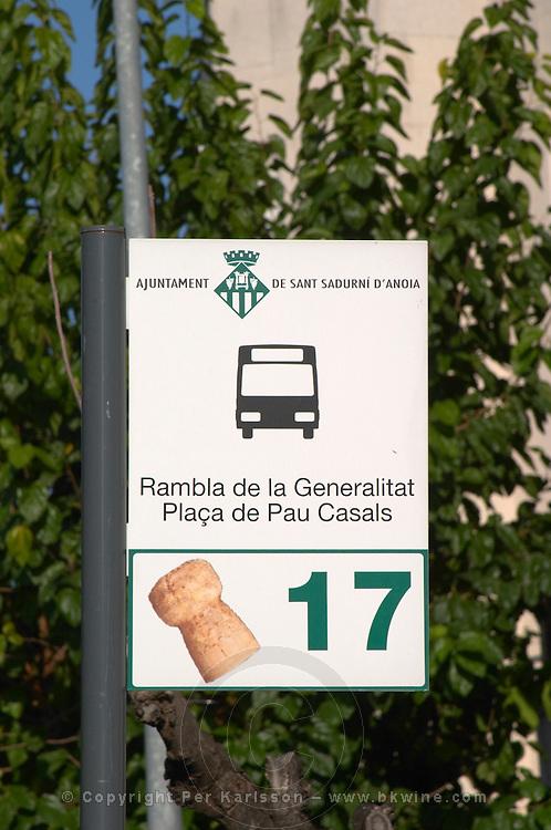 Bus station sight in Sant Sadurni d'Anoia, San Sadurni de Noya. Spain.