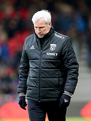 West Bromwich Albion manager Alan Pardew appears dejected during the Premier League match at the Vitality Stadium, Bournemouth.