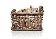 """Roman relief sculpted sarcophagus of Domitias Julianus and Domita Philiska depicted reclining on the lid, 2nd century AD, Perge. Antalya Archaeology Museum, Turkey.<br /> <br /> it is from the group of tombs classified as. """"Columned Sarcophagi of Asia Minor"""". <br /> The lid of the sarcophagus is sculpted into the form of a """"Kline"""" style Roman couch on which lie Julianus &  Philiska. This type of Sarcophagus is also known as a Sydemara Type of Tomb.. Against a white background..<br /> <br /> If you prefer to buy from our ALAMY STOCK LIBRARY page at https://www.alamy.com/portfolio/paul-williams-funkystock/greco-roman-sculptures.html . Type -    Antalya    - into LOWER SEARCH WITHIN GALLERY box - Refine search by adding a subject, place, background colour, etc.<br /> <br /> Visit our ROMAN WORLD PHOTO COLLECTIONS for more photos to download or buy as wall art prints https://funkystock.photoshelter.com/gallery-collection/The-Romans-Art-Artefacts-Antiquities-Historic-Sites-Pictures-Images/C0000r2uLJJo9_s0"""