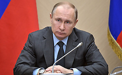 April 18, 2018 - Moscow Region, Russia - April 18, 2018. - Russia, Moscow Region, Novo-Ogaryovo. - Russian President Vladimir Putin holds a meeting with Government members. (Credit Image: © Russian Look via ZUMA Wire)