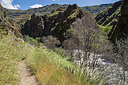 """Imnaha River Trail at """"the end of the road,"""" in Hells Canyon National Recreation Area, Wallowa-Whitman National Forest, north of Imnaha, Oregon, USA. The entire river is designated Wild and Scenic."""