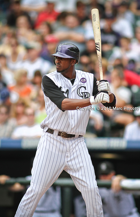 SHOT 8/4/10 3:47:36 PM - The Colorado Rockies Dexter Fowler pinch hits against the San Francisco Giants during their regular season game at Coors Field in downtown Denver, Co. The Rockies won the game 6-1. (Photo by Marc Piscotty / © 2010)