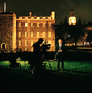 UK. London. The Village Green: From Blair to Brexit.<br /> A story on the relationship between the Media, Politicians and the public as they come together on College Green, a small patch of land next to The Houses of Parliament in Westminster. <br /> Photo shows Andrew Marr from the BBC informing the masses.<br /> Photo©Steve Forrest/Workers' Photos