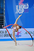 Chalopin Lucille during qualifying at ribbon in Pesaro World Cup at Adriatic Arena on April 27, 2013. Lucille is a French individual rhythmic gymnast was born on 4 March 1996 in Paris.