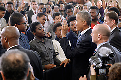 President Barack Obama greets students during a visit to Benjamin Banneker Academic High School to speak about the progress that has been made over the last eight years to improve education across the country on October 17, 2016 in Washington, DC. Photo by Olivier Douliery/Abaca