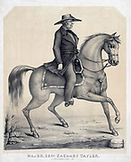 Zachary Taylor (1784-1850) American soldier and 12th President of the United States 1849-1850.  Lithograph of General Taylor riding his horse.