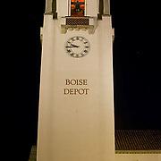 Idaho, Ada County, Boise, depot, tower, clock, evening