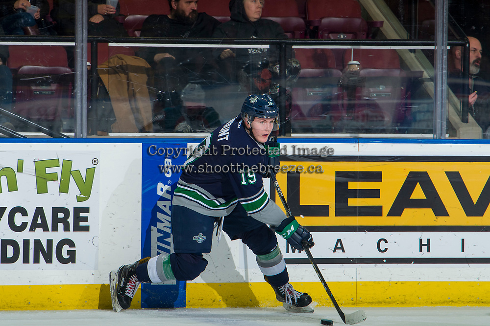 KELOWNA, BC - JANUARY 30: Payton Mount #19 of the Seattle Thunderbirds skates with the puck against the Kelowna Rockets at Prospera Place on January 30, 2019 in Kelowna, Canada. (Photo by Marissa Baecker/Getty Images)
