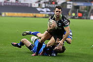 Tom Habberfield of the Ospreys breaks free of his tacklers to score his teams 1st try in the first half. Guinness Pro12 rugby match, Ospreys v Newport Gwent Dragons at the Liberty Stadium in Swansea, South Wales on 29th October 2016.<br /> pic by Andrew Orchard, Andrew Orchard sports photography.
