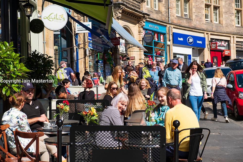 Busy cafe on Cockburn Street in Edinburgh Old Town, Scotland, UK