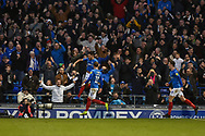 Portsmouth Players Celebrate after Portsmouth Midfielder, Gareth Evans (26) scores a goal to make it 1-0 during the EFL Sky Bet League 1 match between Portsmouth and Sunderland at Fratton Park, Portsmouth, England on 22 December 2018.