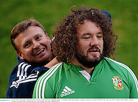 10 June 2013; Adam Jones, British & Irish Lions, has a GPS unit fitted during the captain's run ahead of their game against Combined Country on Tuesday. British & Irish Lions Tour 2013, Captain's Run, Number 2 Sports Ground, Newcastle, NSW, Australia. Picture credit: Stephen McCarthy / SPORTSFILE