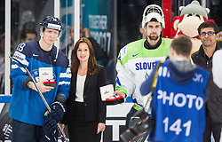 Veli-Matti Savinainen of Finland and Gasper Kroselj of Slovenia as best players after the 2017 IIHF Men's World Championship group B Ice hockey match between National Teams of Finland and Slovenia, on May 10, 2017 in AccorHotels Arena in Paris, France. Photo by Vid Ponikvar / Sportida