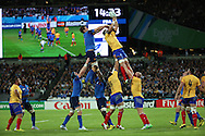 France and Romania battling for a lineout during the Rugby World Cup Pool D match between France and Romania at the Queen Elizabeth II Olympic Park, London, United Kingdom on 23 September 2015. Photo by Matthew Redman.