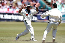 South Africa's Hashim Amla celebrates the wicket of England's Andrew Flintoff