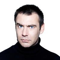 caucasian man portrait anger mistrust distrust frowning portrait on studio isolated white background