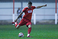 Reuben Pearse of Selby Town (2) crosses the ball from deep during the The FA Cup Preliminary Round match between Selby Town and Kendal Town at the Fairfax Plant Hire Stadium, Selby, United Kingdom on 4 September 2018.