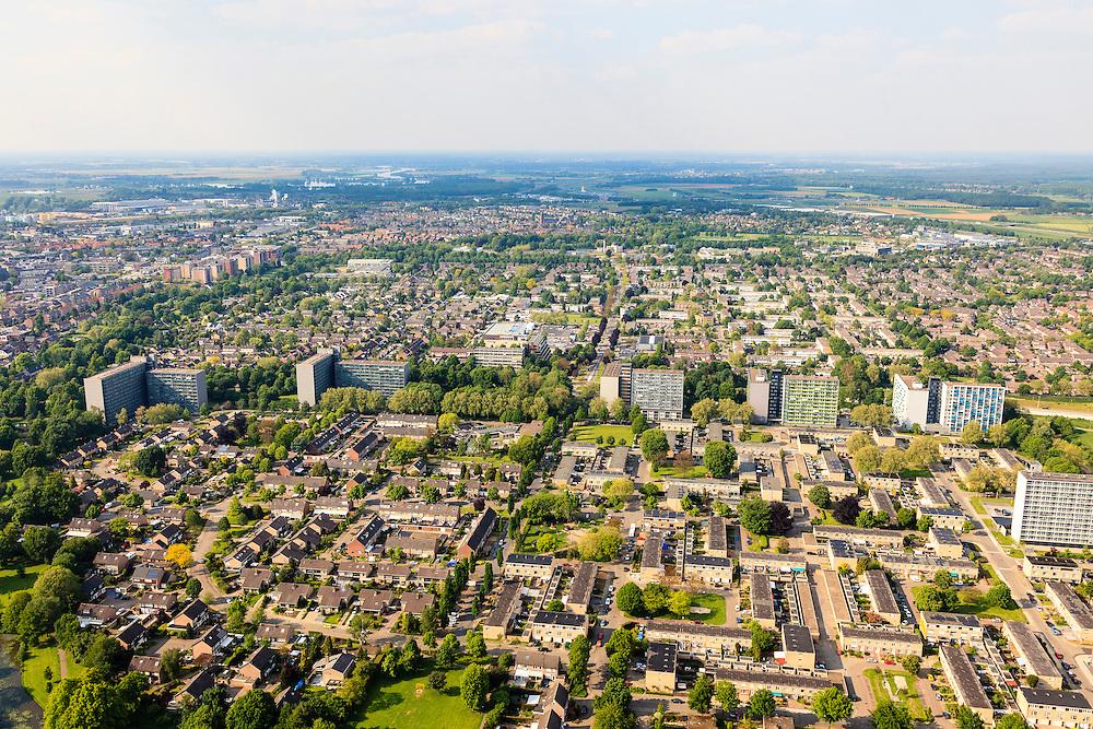 Nederland, Limburg, Roermond, 27-05-2013;<br /> Roermond-Zuid, Donderberg<br /> Overview Roermond.<br /> luchtfoto (toeslag op standard tarieven)<br /> aerial photo (additional fee required)<br /> copyright foto/photo Siebe Swart