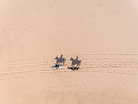 Aerial view of two people riding horses in desert, Abu Dhabi, UAE.