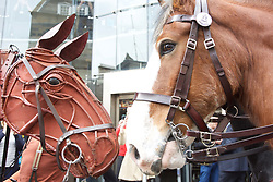 War Horse puppet meets a police horse ahead of the opening of War Horse at the Festival Theatre Edinburgh 18042018 pic by Terry Murden @edinburghelitemedia