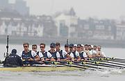 Putney, London, Varsity Boat Race, 07/04/2019, Embankment, Oxford V Cambridge, Men's Race, Crew:  Oxford Following CUBC. Charlie PEARSON, <br /> Ben LANDIS, <br /> Achmin HARZHEIM,<br /> Patrick SULLIVAN, <br /> Tobais SCHRODER, <br /> Felix DRINKALL, <br /> Charlie BUCHANAN, <br /> Augustin WAMBERSIE, <br /> Cox, Toby De MENDONCA Championship Course,<br /> [Mandatory Credit: Patrick WHITE], Sunday,  07/04/2019,  3:20:01 pm,