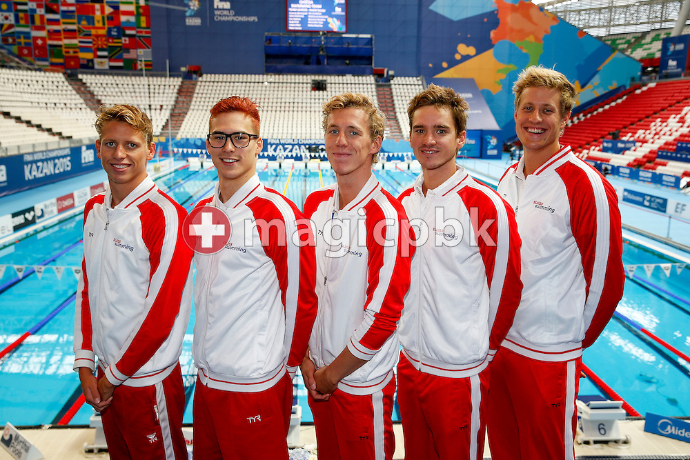 (L-R) Switzerland men's 4x200m Freestyle Relay Project with Nils Liess, Alexandre Haldemann, Jeremy Desplanches, Jean-Baptiste Febo and Lukas Raeuftlin pose for a photo during the 16th FINA World Swimming Championships held at the Kazan arena in Kazan, Russia, Sunday, Aug. 9, 2015. (Photo by Patrick B. Kraemer / MAGICPBK)