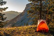Campsite below Mt Patrick Gass in the Bob Marshall Wilderness, Montana, USA