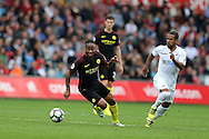Raheem Sterling of Manchester city (l) in action. Premier league match, Swansea city v Manchester city at the Liberty Stadium in Swansea, South Wales on Saturday 24th September 2016.<br /> pic by Andrew Orchard, Andrew Orchard sports photography.
