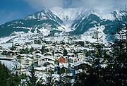 Luxury ski resort Klosters nestling at the foot of the Swiss Alps, Swizerland