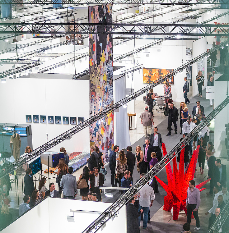 Opening night, aerial view of a portion of the sprawling main exhibition hall, Art Basel Miami Beach 2012