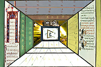 word and light: scripts and religion symbols in surral corridor with lights on the end