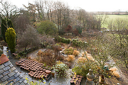 Overhead view of the garden at Glebe Cottage in January