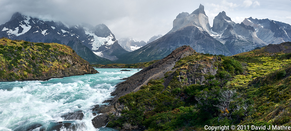Salto Grande Rapids just before the Waterfall in Torres del Paine National Park, Chile. Composite of three images taken with a Nikon D3x camera and 24-120 mm f/4 lens (ISO 100, 34 mm, f/11, 1/30 sec). Raw images processed with Capture One Pro, AutoPano Giga Pro, Focus Magic, and Photoshop CC.
