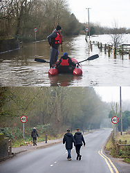 ©Licensed to London News Pictures 28/12/2019. <br /> Yalding ,UK. Comparison image of Lees road, Yalding today (28.12.2019) and from a week ago boys with boat (21.12.2019).  Flood waters from the River Medway and River Beult in Yalding, Kent are Receding.  Photo credit: Grant Falvey/LNP