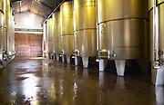 Modern stainless steel fermentation tanks in the newest part of the winery. Bodega Pisano Winery, Progreso, Uruguay, South America