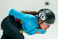 Hanne Desmet of Belgium in action on 1500 meter during ISU World Short Track speed skating Championships on March 05, 2021 in Dordrecht