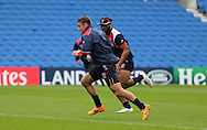 Chris Wyles running with the ball during the USA Captain's Run in preparation for the Rugby World Cup at the American Express Community Stadium, Brighton and Hove, England on 18 September 2015.